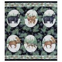 Northcott Frosted Forest Flannel Animal (Running Ydg) Black Multi