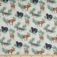 Northcott Frosted Forest Flannel Animal Coordinate Beige Multi
