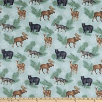 Northcott Frosted Forest Flannel Animal Coordinate Sage Multi