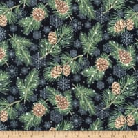 Northcott Frosted Forest Flannel Snowflakes & Pinecones Black Multi