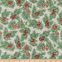 Northcott Frosted Forest Flannel Pinecones Beige Multi