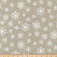 Northcott Frosted Forest Flannel Snowflakes Beige