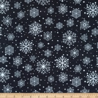 Northcott Frosted Forest Flannel Snowflakes Black