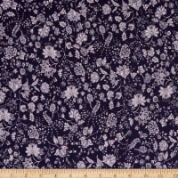 Fabtrends ITY Stretch Knit Jacobean Floral Puff Navy/White