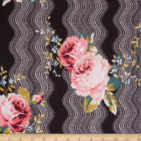 Fabtrends ITY Stretch Knit Wave Floral Puff Black/Red/Blush/White