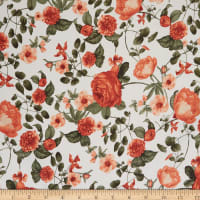 Fabtrends Mikado Satin Twill Floral Ivory/Terracotta