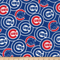 MLB Broadcloth Chicago Cubs Logo Blue/Red