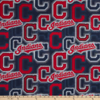 MLB Broadcloth Cleveland Indians C Navy/Red