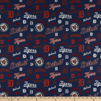 MLB Broadcloth Detroit Tigers All Over Icons and Logos Navy/Orange