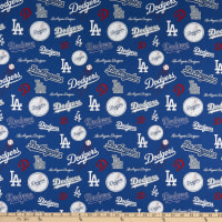 MLB Broadcloth Los Angeles Dodgers Allover Logos Navy/Red