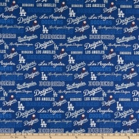 MLB Broadcloth Los Angeles Dodgers Allover Blue/White
