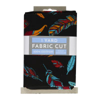 Whimsy Feather Cotton 1 Yard Cut Black