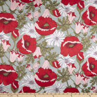 Silk Rayon Satin Burn Out Stain Glass Olive/Red