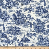 """Henry Glass 108"""" Farmhouse Wide Back Toile Navy/Cream"""