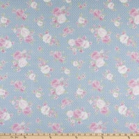 Chambray Shower Dots Floral Blue