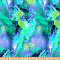 Timeless Treasures Digital Painted Paradise Mountain Paint Strokes Green
