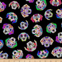 Timeless Treasures Digital Day Of  The Dead Pets Dog Heads Black