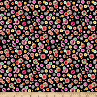Timeless Treasures Sew Floral Buttons Black