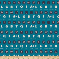 EXCLUSIVE Mister Domestic Love is Love Acronym Teal Fabric