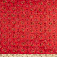 Fabric Merchants Chinese Brocade Dragon Medallion Red/Lime