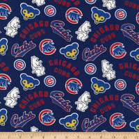 MLB Broadcloth Chicago Cubs Allover Bears Blue