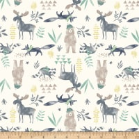 Michael Miller Minky Wild And Free Moose And Friends Cream