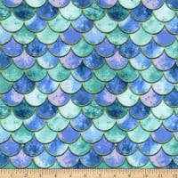 Fabric Merchants Double Brushed Poly Stretch Jersey Knit Mermaid Scales Blue/Jade