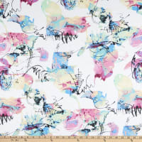 Fabric Merchants Double Brushed Poly Stretch Jersey Knit Splatter Paint White/Pink/Blue
