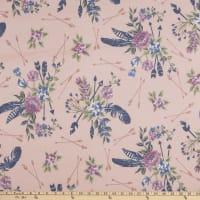 Stretch French Terry Print Arrows and Feathers Salmon/Blue
