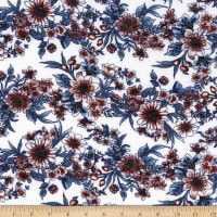 Stretch French Terry Print Floral Blue/Orange