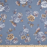 Stretch French Terry Print Floral Blue/Orange/White