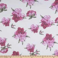 Stretch French Terry Print Floral Large White/Pink