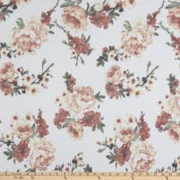 Stretch French Terry Print Floral Rose White/Orange