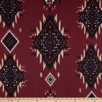 Stretch DTY Knit Brushed Print Aztec Inspired Maroon/Black