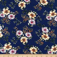 Stretch DTY Knit Brushed Print Flowers Foliage Navy/Yellow