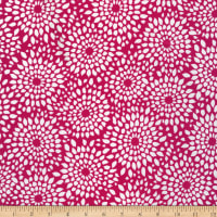 Stretch DTY Print Abstract Circle Pink/White