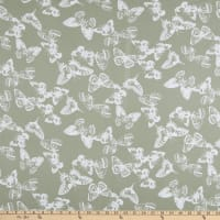 Fabric Merchants Double Brushed Poly Stretch Jersey Knit Butterflies Sage