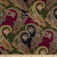 Fabtrends Nu Suede Stretch Paisley Olive/Burgundy