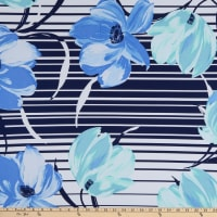 Fabtrends ITY Floral Stripe Blue/Jade