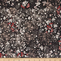 Fabtrends Stretch ITY Floral Black Beige/Offwhite