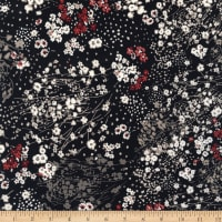Fabtrends Stretch ITY Floral Black Beige/Offwhite/Marsala