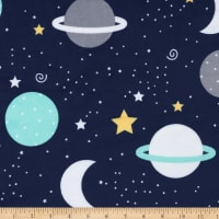 Exclusive Robert Kaufman Digital Minky Cuddle Spaced Out Navy