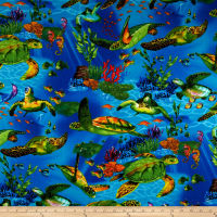 Timeless Treasures Sea Turtles Dark Blue