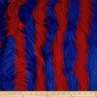 Shannon Lux Faux Fur Ribbon Stripes Fire Red/Royal