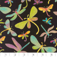 Timeless Treasures Dragonflies Black Metallic