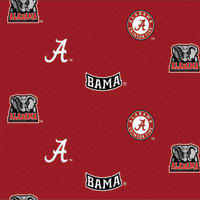 Collegiate Cotton Broadcloth University of Alabama Allover Red