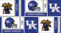 Collegiate Cotton Broadcloth University of Kentucky Squares Blue/White