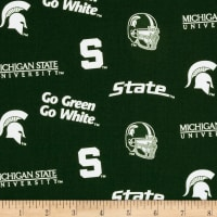 Collegiate Cotton Broadcloth Michigan State University Allover Green