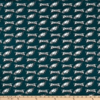 NFL Cotton Broadcloth Philadelphia Eagles Green/Silver/White