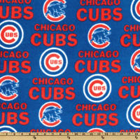 MLB Fleece Chicago Cubs Allover White/Red/Blue
